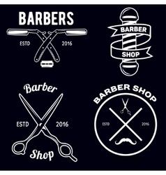 Set vintage barber shop emblems label badges vector