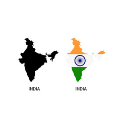 Silhouette india on white color vector