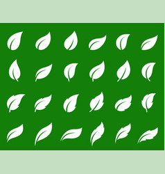 simple white isolated leaf icons set on green vector image