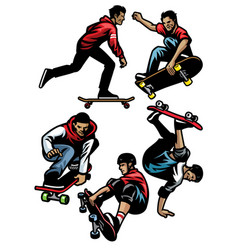 Skateboard player set vector