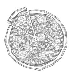 Sliced pizza isolated on white background Hand vector