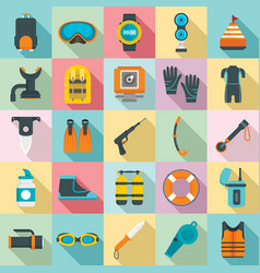 Snorkeling equipment icon set flat style vector