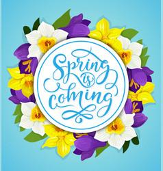 Spring flower frame for springtime holiday card vector