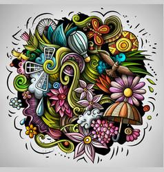 spring hand drawn cartoon doodle vector image