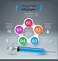 Syringe icon 3d medical infographic vector