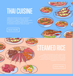 thai cuisine restaurant flyers with asian dishes vector image