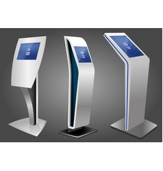 three promotional interactive information kiosk vector image