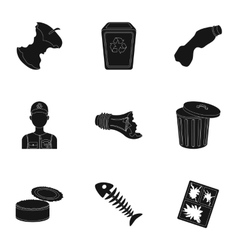 Trash and garbage set icons in black style Big vector image