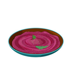 Vegan and vegetarian food beet hummus in ceramic vector