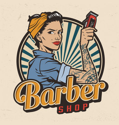 vintage barbershop colorful print vector image