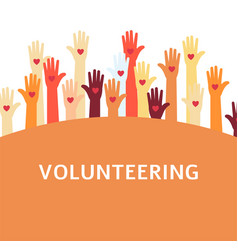 Volunteer group with raised hands vector