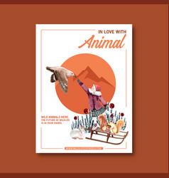 Winter animal poster design with bird mountain vector