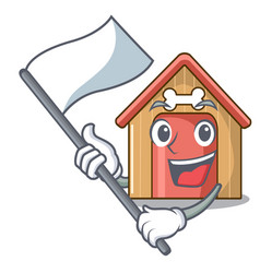 With flag mascot dog house of wood home vector