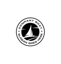 yacht emblem circle logo vector image