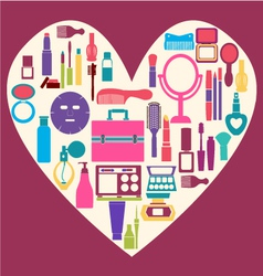 all MakeUp and beauty cosmetic Symbols vector image vector image