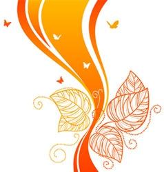 back doodle floral orangered vector image vector image