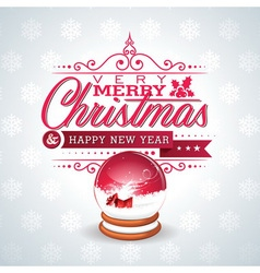 Christmas with magic snow globe vector image vector image