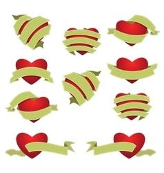 Set of Heart and Ribbon Green vector image vector image