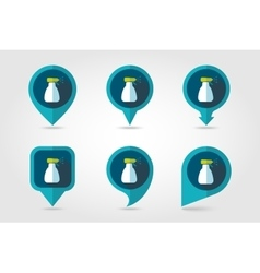 Spray bottle pulverizer sprayer pin map icon vector image