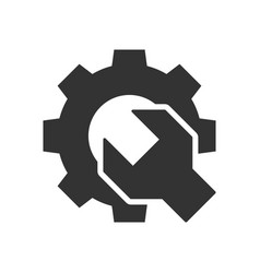 wrench gear black icon vector image