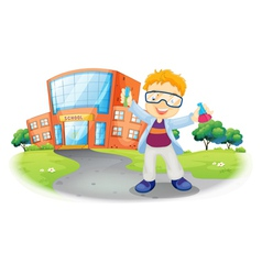 A scientist in front of a school building vector image vector image