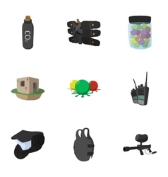 Competition paintball icons set cartoon style vector image vector image