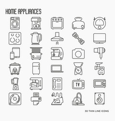 home appliances thin line icons vector image