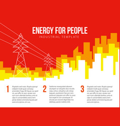 Poster template with power lines and city vector
