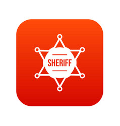 sheriff badge icon digital red vector image vector image