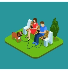Social media addiction Young couple in park with vector image