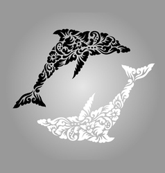Dolphin floral ornament decoration vector image