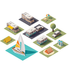 isometric camping icons vector image vector image