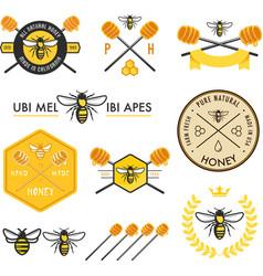 Set of honey labels badges and design elements vector
