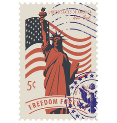 statue of liberty in background of american flag vector image