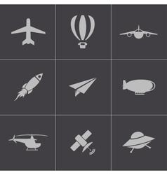 black airplane icons set vector image