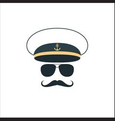 captain sailor face icon vector image