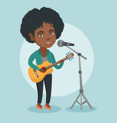 woman singing into a mic and playing the guitar vector image