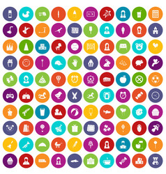 100 child center icons set color vector image