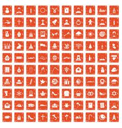 100 church icons set grunge orange vector