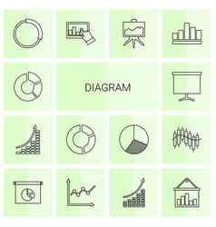 14 diagram icons vector