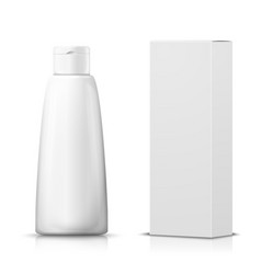 3d realistic shampoo bottle with paper box vector image