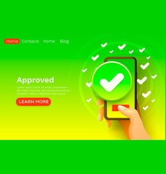 application approve button smartphone accept icon vector image
