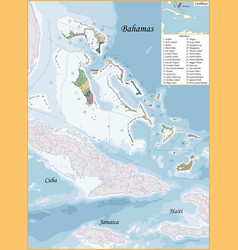 Bahamas map was drawn with high detail vector
