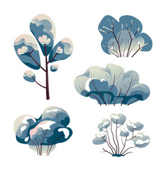 bare trees and bushes under snow watercolor vector image