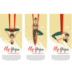 Beautiful girl wearing sportwear doing fly yoga vector