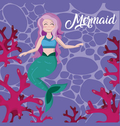 beautiful mermaid cartoons vector image