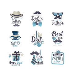 best dad logo design set happy fathers day vector image
