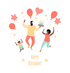 birthday greeting card with a happy family vector image