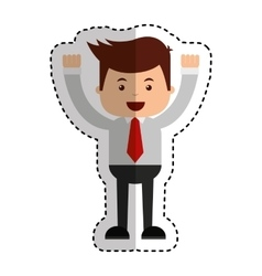 businessman funny with hands up character icon vector image
