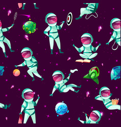 Cartoon spacemen cosmic seamless pattern vector